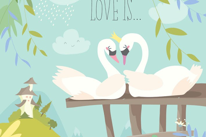 Thumbnail for Cartoon swans in love. Fairy tale concept. Vector