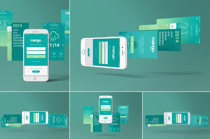 Thumbnail for Five iPhone 6 Perspective App Screen Mockups