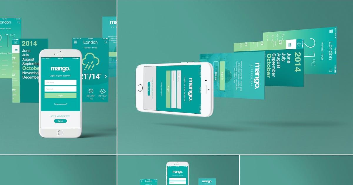 Download Five iPhone 6 Perspective App Screen Mockups by zippypixels