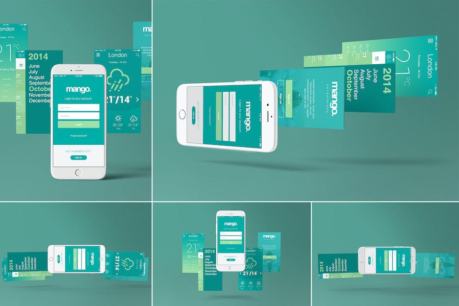Five-iPhone-6-Perspective-App-Screen-Mockups