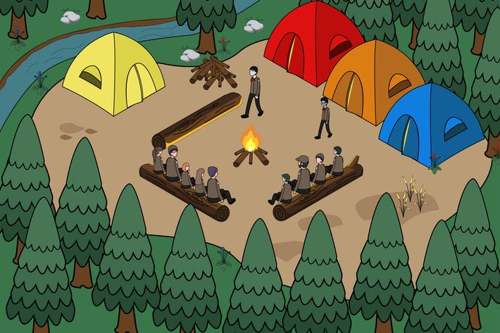 Illustration de l'activité scoute dans un camp