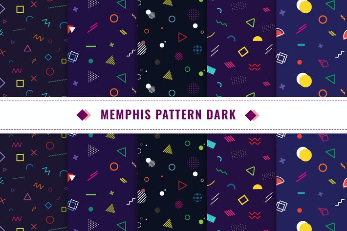 Thumbnail for Memphis Seamless Pattern Dark v1