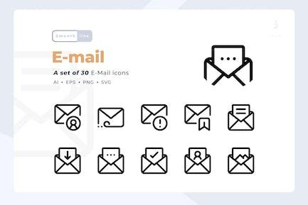 Smoothline - Kit de iconos de 30 E-mail