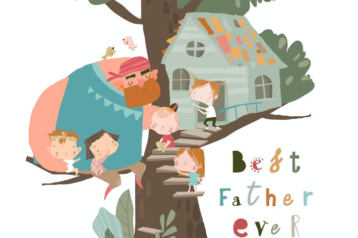 Vater spielt mit Kindern auf Treehouse
