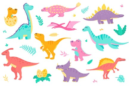 Cute Dinosaurs Isolated Objects Set