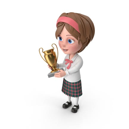 Cartoon Girl Meghan Holding Prize Cup