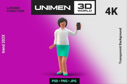 Businesswoman 3D Standing with Smartphone