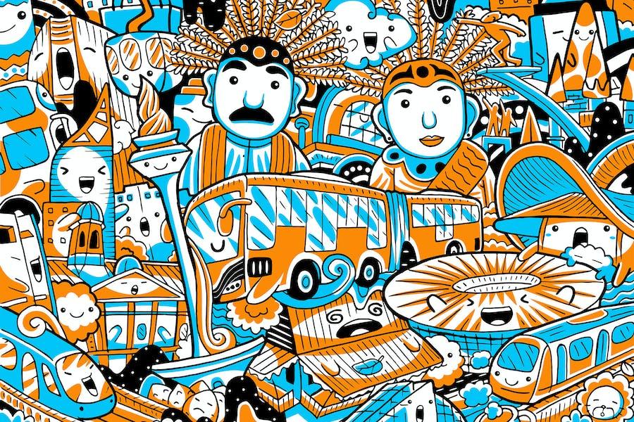 Jakarta City Landmark Vector Illustration
