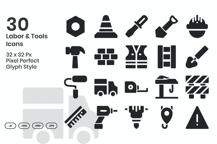 Thumbnail for 30 Labor & Tools Icons - Glyph