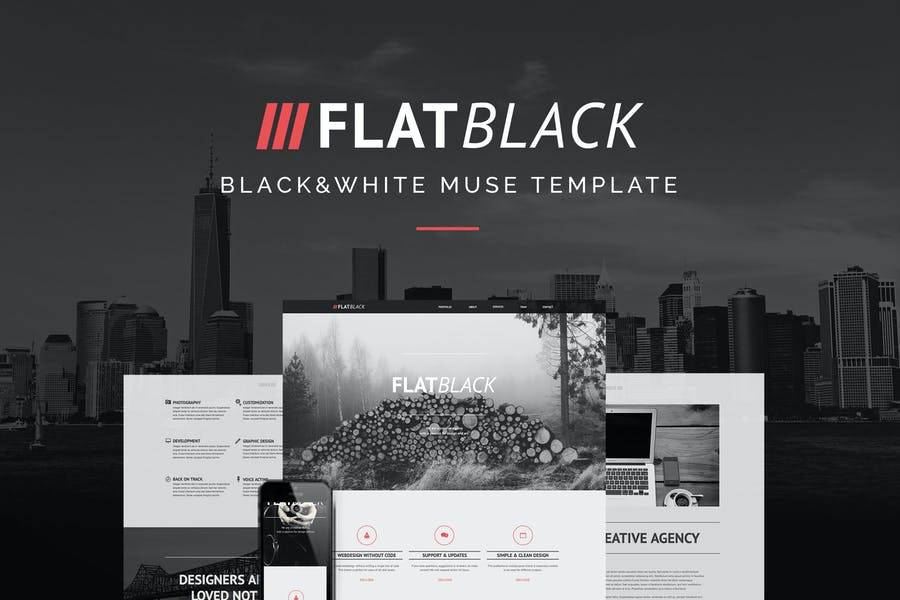 Flatblack - One Page Muse Template for Creatives