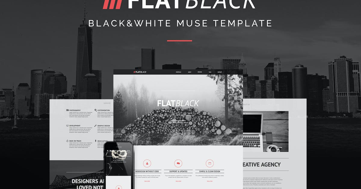 Download Flatblack - One Page Muse Template for Creatives by styleWish