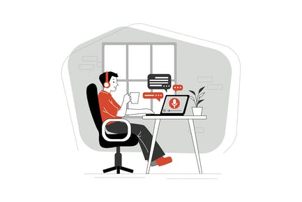 People Listening Recording Audio Podcast Concept