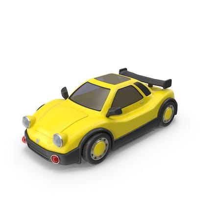 Cartoon Racing Car Yellow