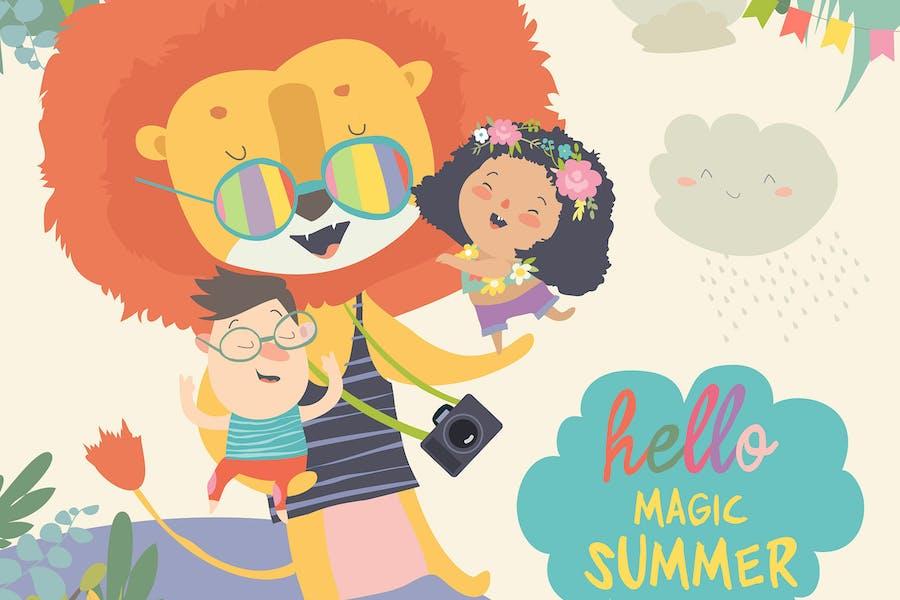 Funny lion hugging children. Hello adventures. Mag