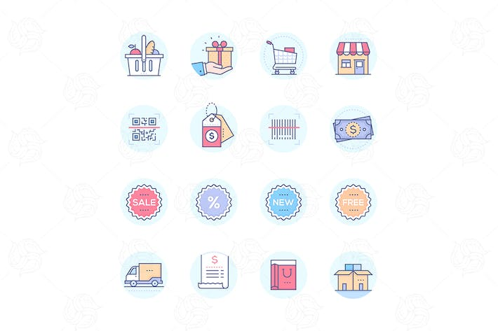 Thumbnail for Shopping - modern vector colorful icons set