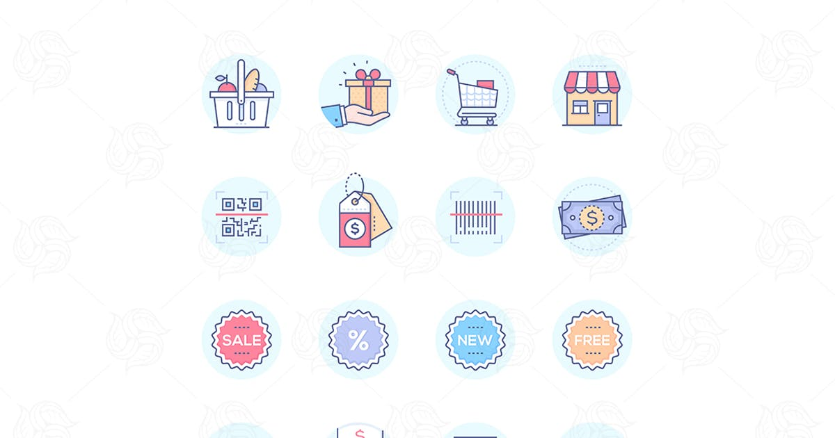Download Shopping - modern vector colorful icons set by Unknow