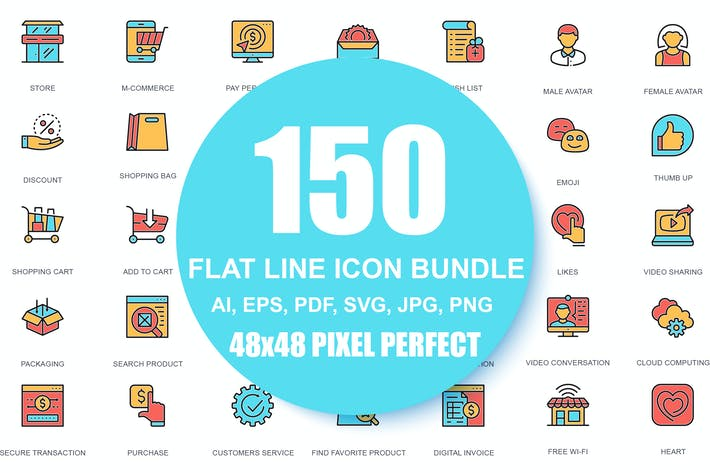 Thumbnail for Line icons Linear Pictogram Pack