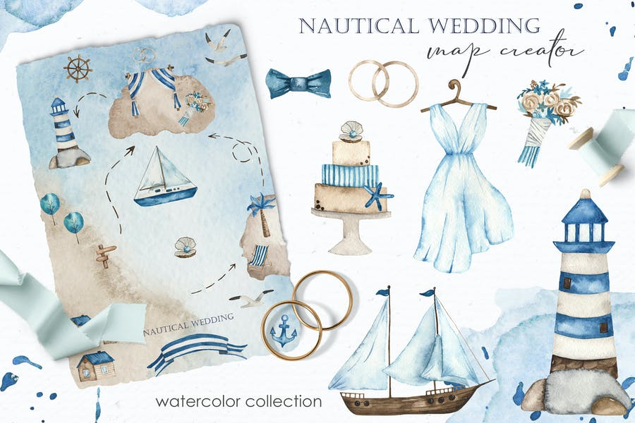 Watercolor Nautical wedding map creator
