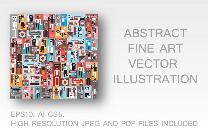 Cover Image For People and Robots vector illustration