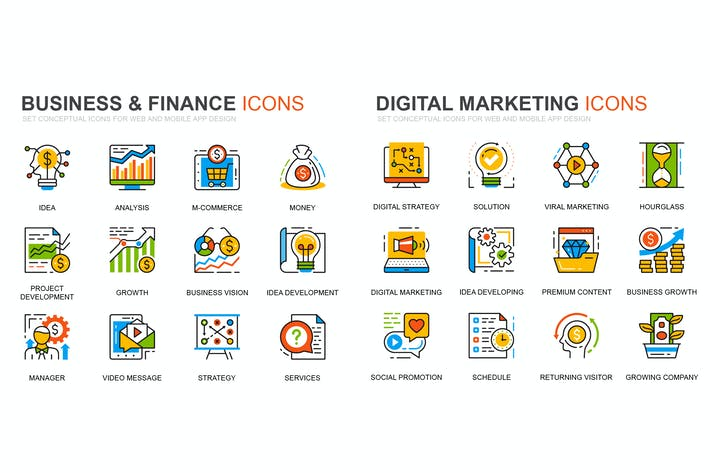Набор Иконки линий финансов и маркетинга