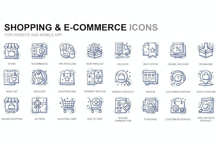 Thumbnail for Shopping and E-Commerce Thin Line Icons