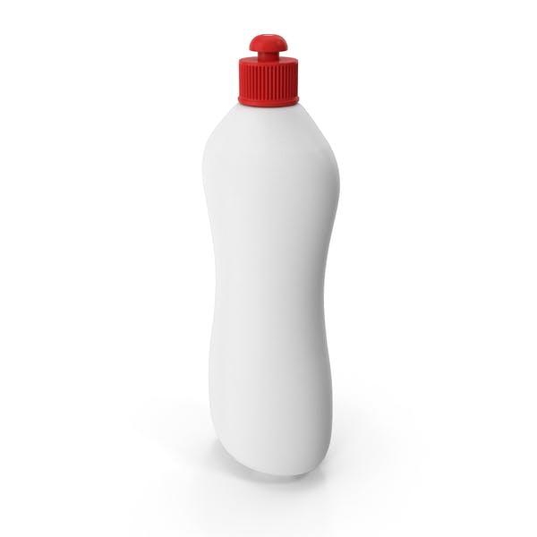 Botella de producto de limpieza blanca con tapa roja