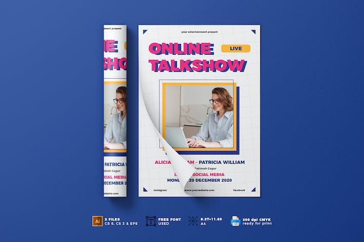 Thumbnail for Online Talkshow Flyer Template Vol. 01