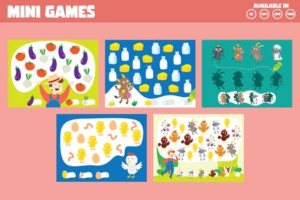 Counting games with farm and animal theme