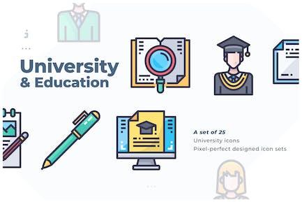 25 University Icon set