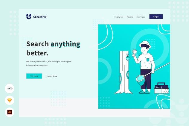 Search Engine - Website Header - Illustration