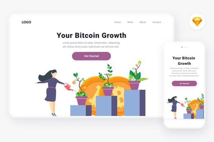 Cover Image For Bitcoin growth illustration (Sketch & SVG)