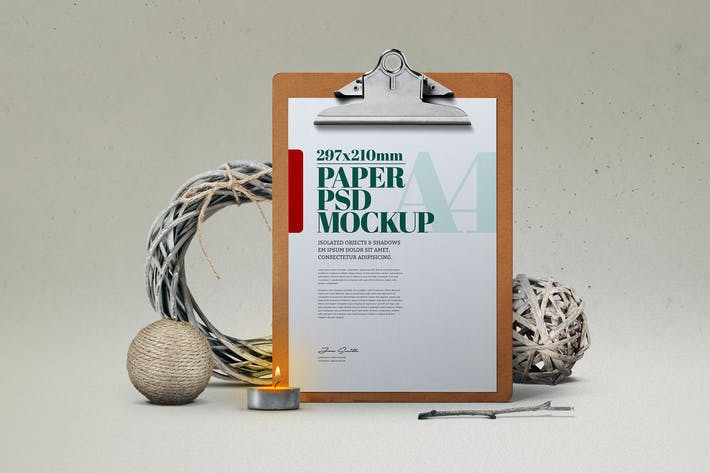 Christmas A4 Flyer Clipboard Christmas  Mockup
