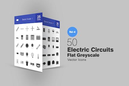 50 elektrische Schaltungen Graustufen-SyIcons