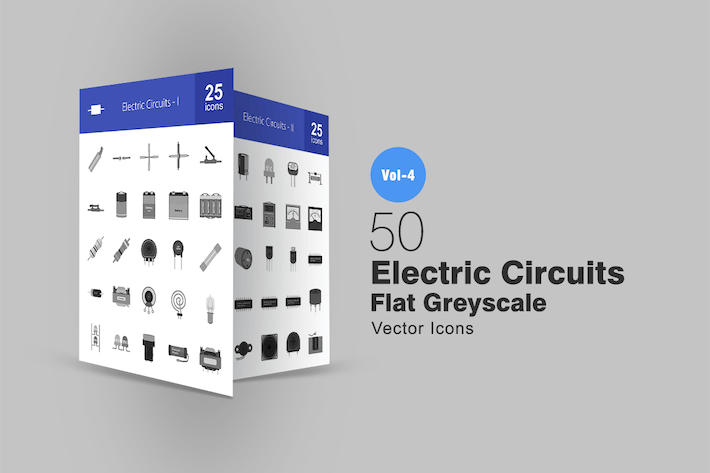 Thumbnail for 50 Electric Circuits Greyscale Icons