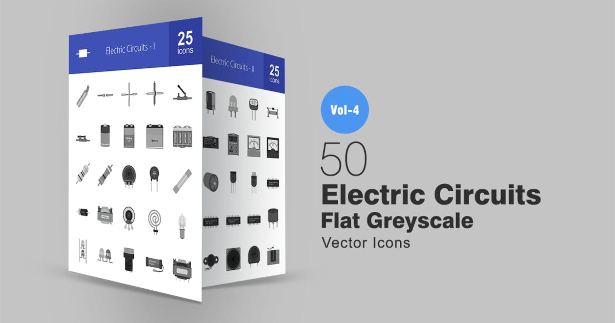 Download 50 Electric Circuits Greyscale Icons by IconBunny