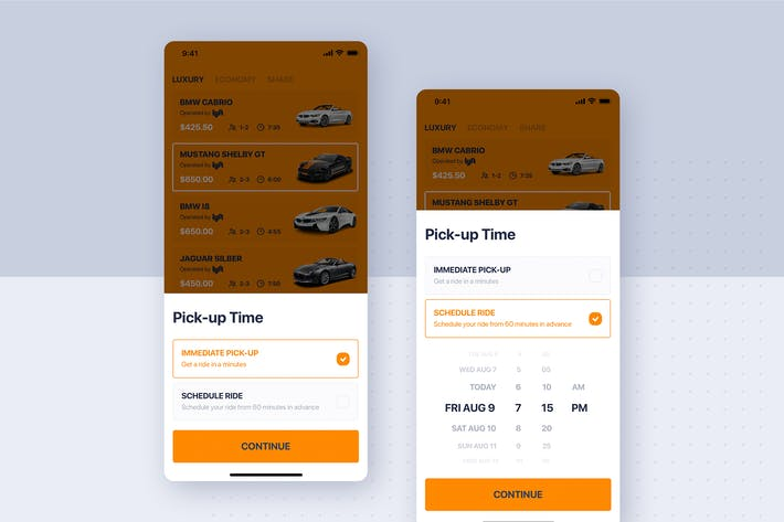 Thumbnail for Car rental mobile UI Kit - Schedule time
