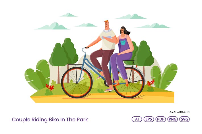 Thumbnail for Couple Riding Bike In The Park