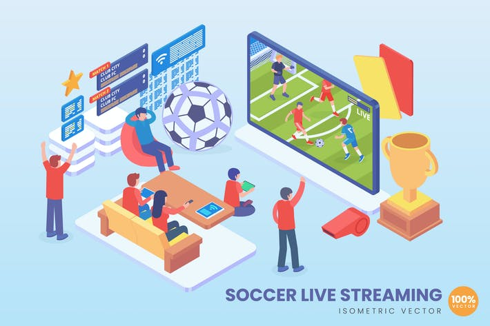 Cover Image For Isometric Soccer Live Streaming Vector Concept
