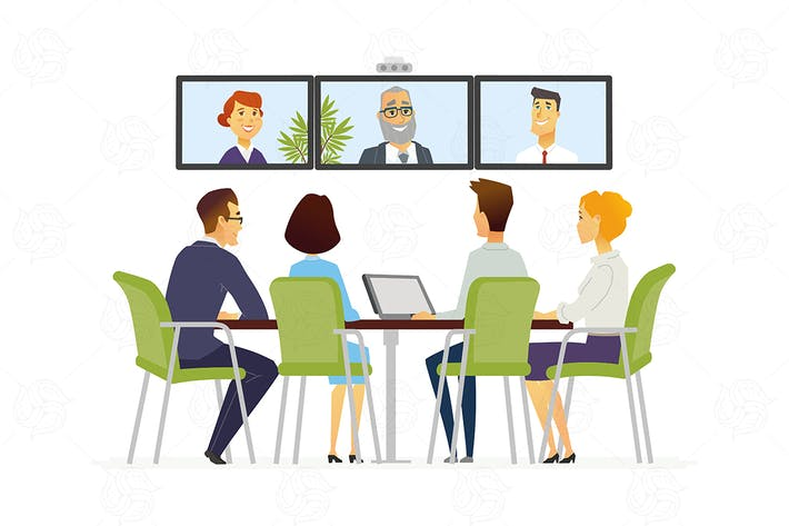 Thumbnail for Distance Meeting - business cartoon illustration