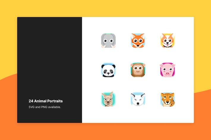 Ensemble d'icônes animales - Style portrait Vecteur