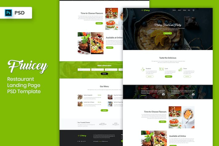 Thumbnail for Restaurant - Landing Page PSD Template