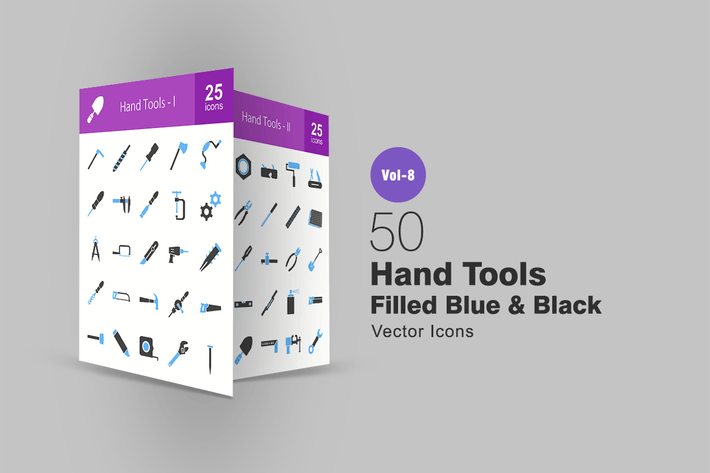 Thumbnail for 50 Hand Tools Filled Blue & Black Icons
