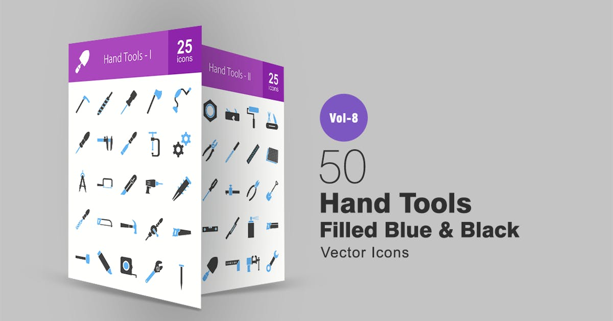 Download 50 Hand Tools Filled Blue & Black Icons by IconBunny