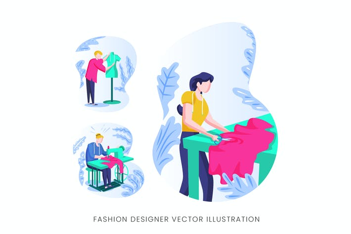 Thumbnail for Fashion Designer Vector Character Set