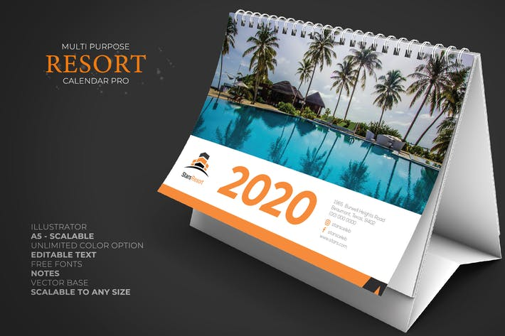 Thumbnail for 2020 Resort/Hôtel Calendrier Desk Pro