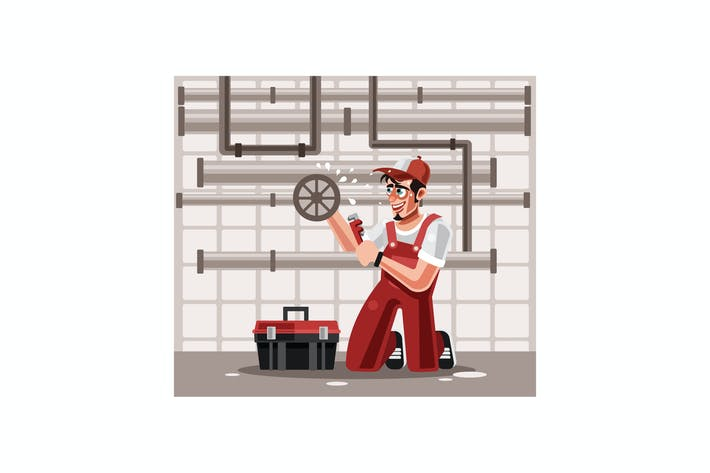 Cover Image For Plumber Character Graphics Vector Illustration