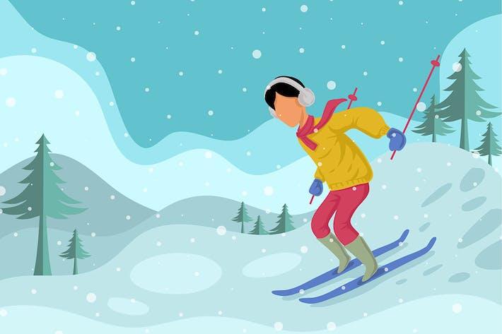 Thumbnail for Winter Skiing man - illustration