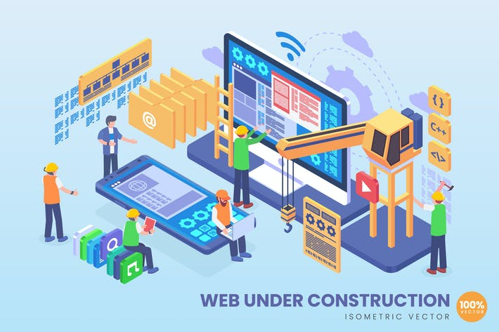 Thumbnail for Isometric Web Under Construction Vector Concept