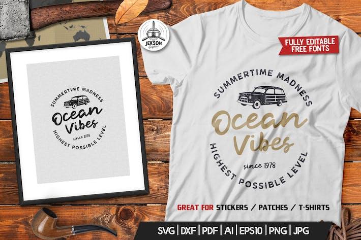 Thumbnail for Ocean Vibes, Retro Surfing Print Design, T-Shirt