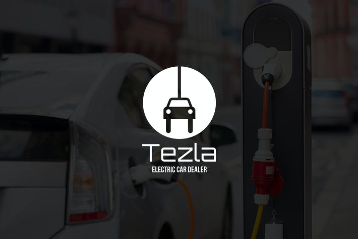 Cover Image For Tezla : Negative Space Green Energy Logo